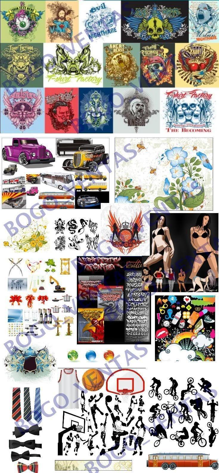vector modelos Colección de CLIPART modelos de diversas temáticas y de los mas variados motivos: Autos, Aviones, Tatuajes, Personas, Comics, Nigth Club, Arboles y Plantas, Iconos, Ornamentos vectorizados ilustrator corel draw