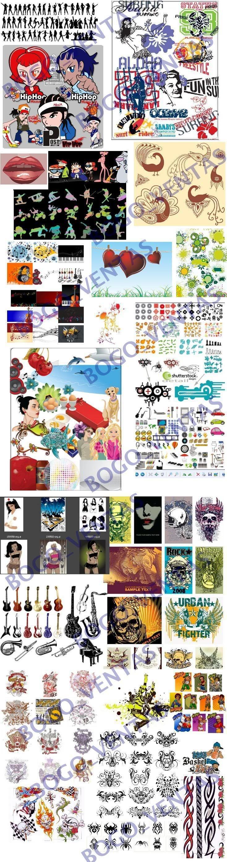 vectores CLIPART modelos de siluetas, hip-hop, Caricaturas, Tribales, Acid, Soles y estrellas, Corazones, Musica, Celebraciones, Deportes